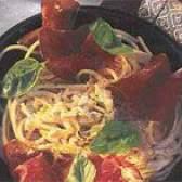 Спагеті з копченим м'ясом