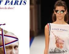 Моделі німецьких дизайнерів з портретами президента росії на паризькому тижні моди